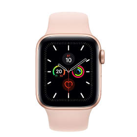 Часы Apple Watch Series 5 GPS 44mm Gold Aluminum Case with Pink Sport Band