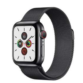 Часы Apple Watch Series 5 GPS + Cellular 44mm Stainless Steel Case with Milanese Loop Black