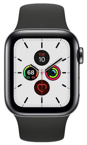 Часы Apple Watch Series 5 GPS + Cellular 40mm Stainless Steel Case with Sport Band Black