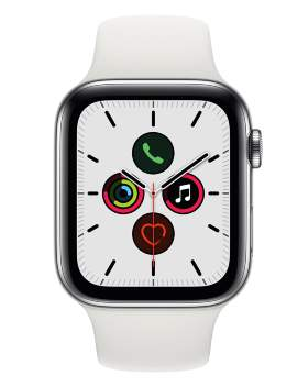 Часы Apple Watch Series 5 GPS + Cellular 40mm Stainless Steel Case with Sport Band White